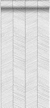 ESTAhome behang visgraat-motief zwart wit - 139106 - 0.53 x 10.05 m