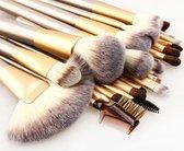 Kabuki Professionele Make-up Kwasten - Kwastenset - Beige/Goud - 24 delig