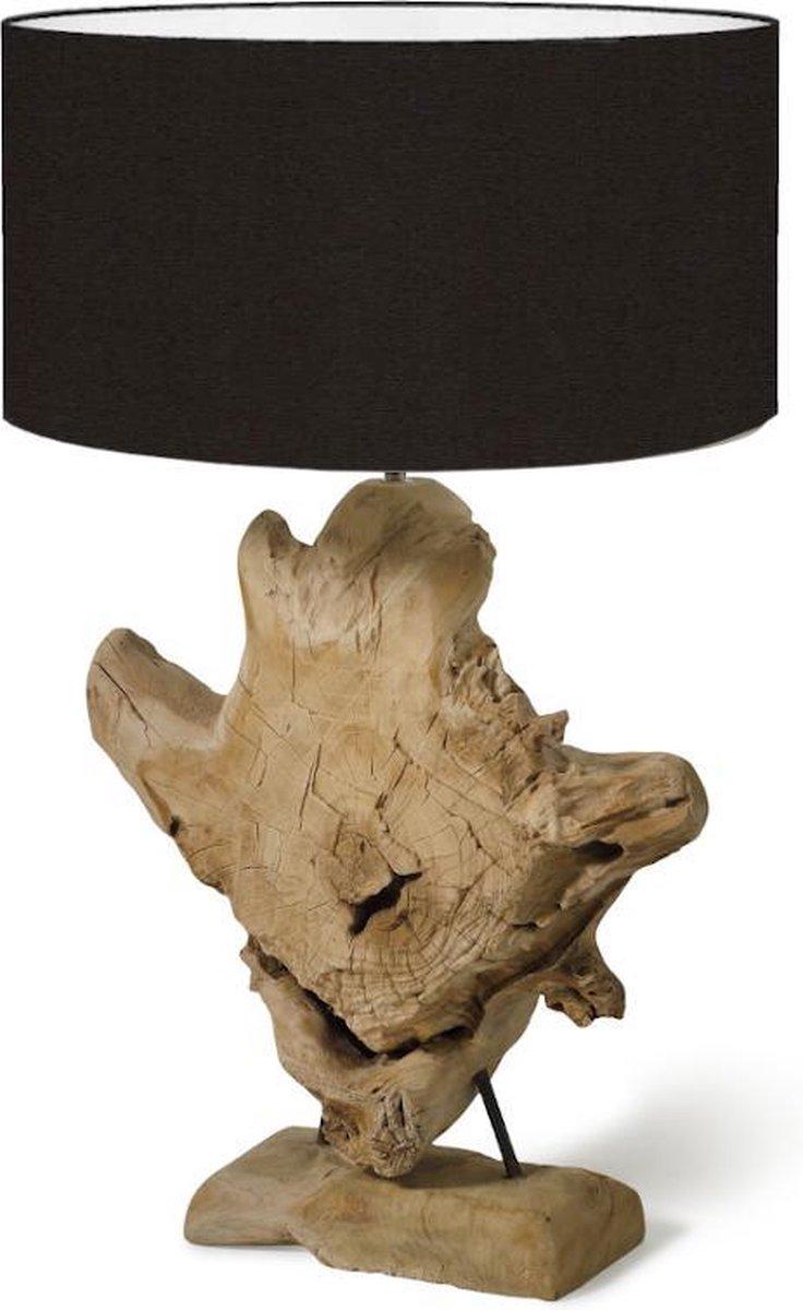 Landelijke teak houten lamp Sarabi Teak Tafellamp Bruine lampenvoet met zwarte lampenkap