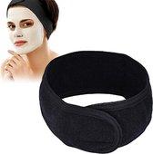 WiseGoods - Premium Verstelbare Badstof Make up Hoofdband - Haarband - Professioneel en Thuisgebruik - Zwart