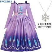 Frozen 2 Elsa jurk paars Deluxe 116-122 (120) + GRATIS ketting Prinsessen jurk verkleedkleding