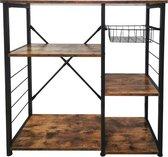 Keuken kast tafel Stoer industrieel vintage -keukenmeubel metalen frame - zwart bruin