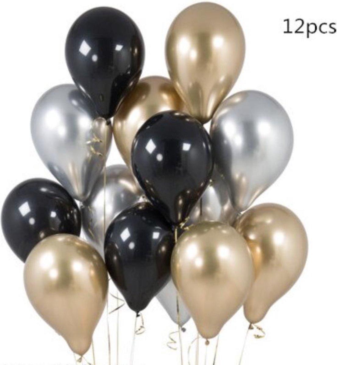 Luxe Chrome Ballonnen Goud Zwart Zilver - Helium Ballonnenset Metallic Feestje Verjaardag Party