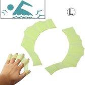 Groot formaat vinger flexibele siliconen zwemmen Gloves(Green)