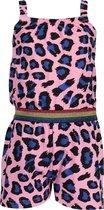 Blue Seven Jumpsuit kort met panterprint Roze Blauw - Maat 128
