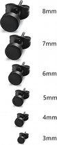 zwarte ronde oorbellen- Zweerknopjes- zwart -chirurgisch staal-3mm-unisex