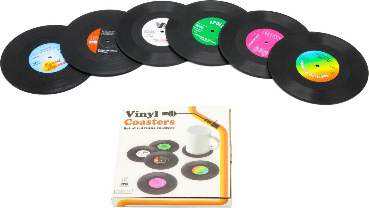 Vinyl platen onderzetters voor glazen   LP onderzetters (6 stuks)   Onderzetters met anti-slip