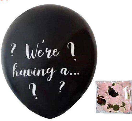 Gender reveal ballon roze (afmeting 91 cm!)