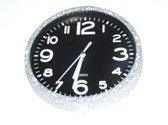 Glitter klok Zilver/Zwart 30 cm