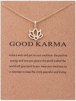 Good Karma Ketting - Lotus bloem hanger aan ketting - Geluksketting - Lotus bloem