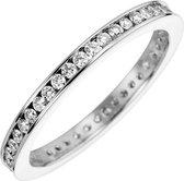 Schitterende wit gouden eternity ring met zirconia's