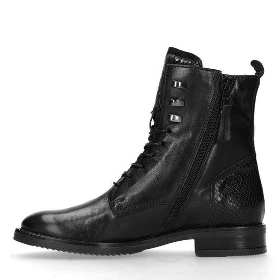 Manfield - Dames - Zwarte veterlaarsjes met snakeskin detail - Maat 38 z2WGOu4Z
