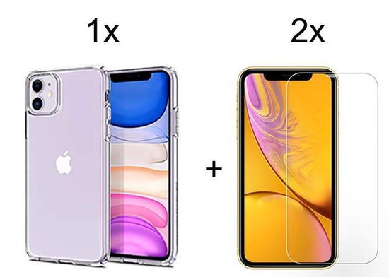 iPhone 11 hoesje transparant case siliconen hoesjes cover hoes - 2x iPhone 11 Screenprotector