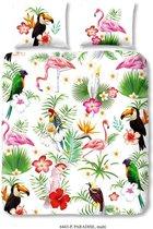 Dekbedovertrek Bird Paradise -  Lits-jumeaux (240 x 200/220 cm) - Katoen - Groen |  Meerkleurig | Multi | Multicolor - Good Morning
