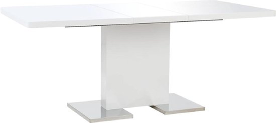 Eetkamer Tafel Wit Hoogglans.Bol Com Uitschuifbare Eettafel Wit Hoogglans Incl Lw Klok
