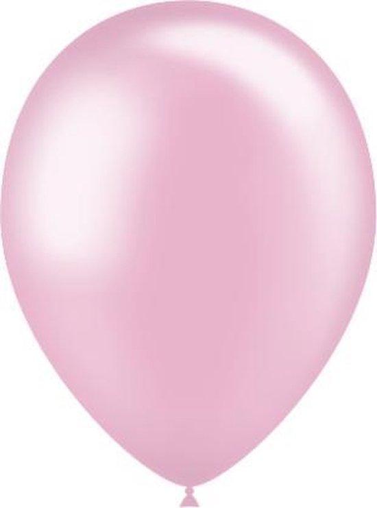 Lichtroze Ballonnen Metallic 25cm 10st