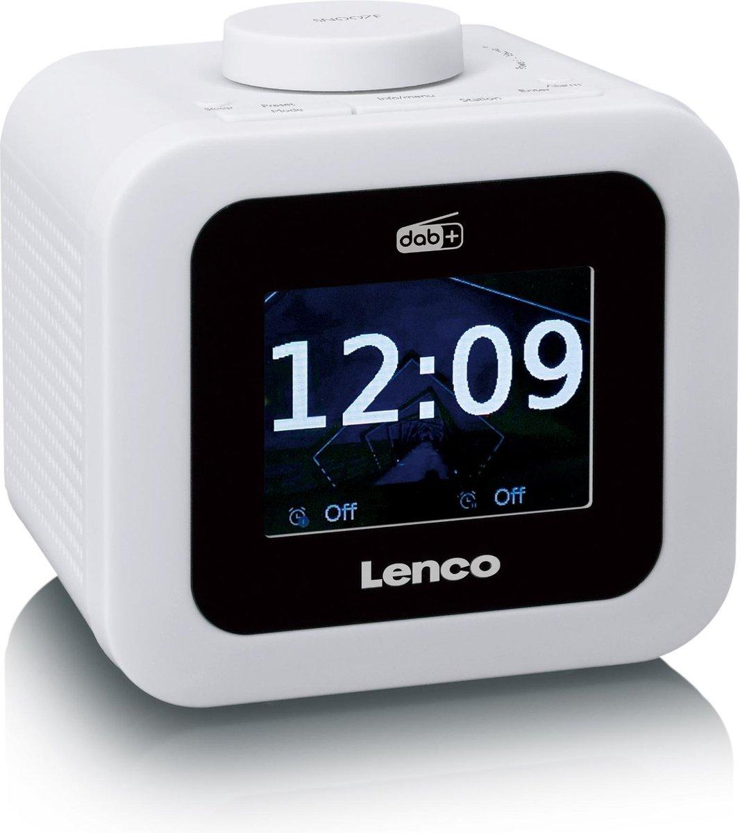 Lenco CR-620 - Wekkerradio met DAB+ en AUX-uitgang - Wit