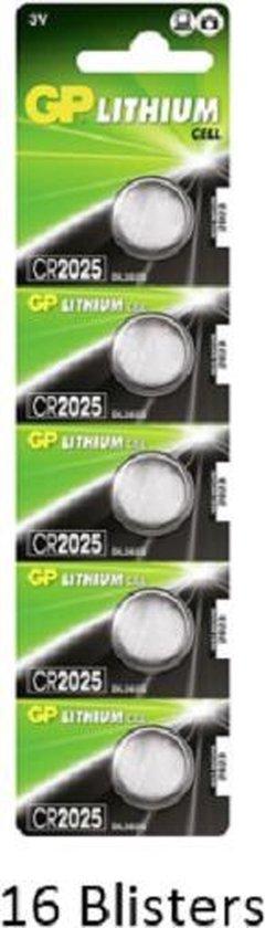 80 stuks (16 blisters a 5 stuks) GP Lithium Cell CR2025 Single-use batterij 3V