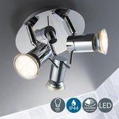 B.K.Licht Mira LED badkamer plafondlamp spot 3-lichts - chroom - IP44