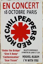 Wandbord - Concertbord Red Hot Chili Peppers Paris -20x30cm