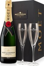Champagne Moet & Chandon Brut Imperial in luxe koffer met 2 glazen
