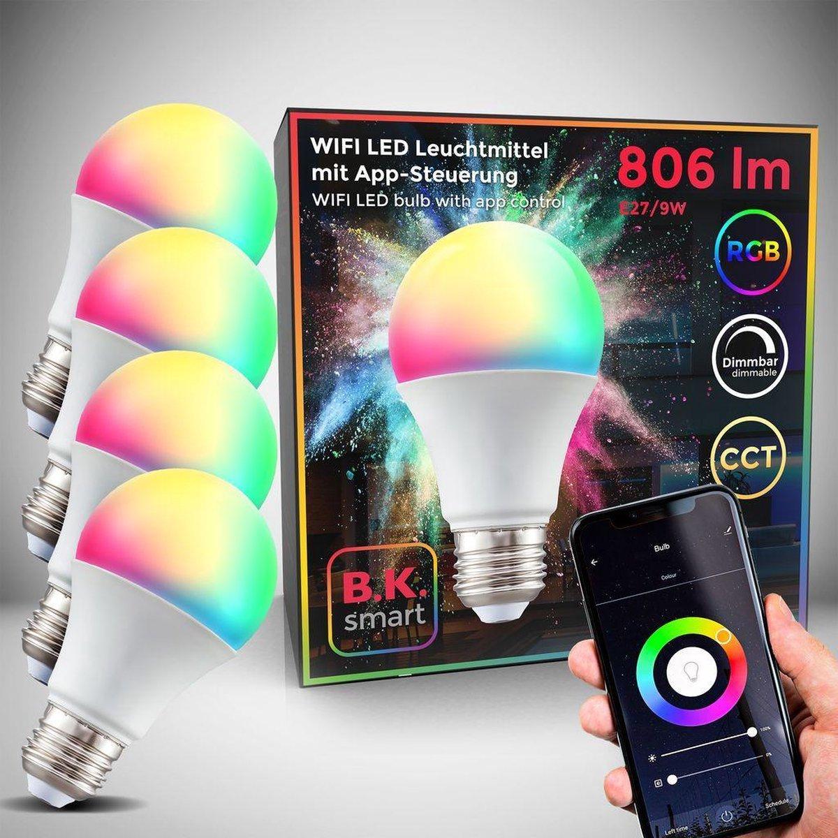 B.K.Licht - Slimme Lichtbron - RGB en CCT - set van 4 - smart lamp - met E27 - 9W LED - WiFi - App - 2.700K to 6.500K - 806 Lm - voice control - color lampjes - LED lamp