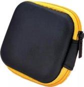 Oortjes opberg hoesje - Case - Etui - Organizer - Voor oordopjes en laadkabels - USB - Geel