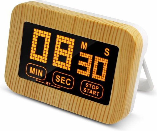 Krumble digitale kookwekker houtlook / Minuten en secondes instellen / LED verlichting / Met verlichte cijfers - Wit met bruin