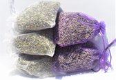 Biologische geurzakjes lavendel uit de Provence 5 stuks 12 gram wit/paars