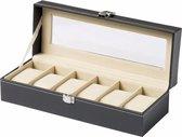 Luxe horloge box - horloge kist voor 6 horloges - watch box - horlogedoos - fluweel kunstleer
