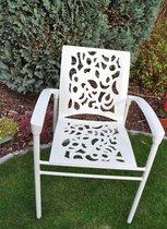 12 grijze tuinstoelen met leuning in gegoten aluminium - collectie Coral