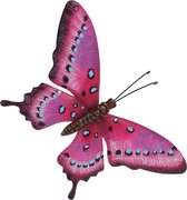 Tuin/schutting decoratie roze/lichtblauwe vlinder 44 cm - Tuin/schutting/schuur versiering/docoratie - Metalen vlinders