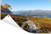 Heldere lucht boven het herfstlandschap van het Nationaal park Sarek in Zweden Tuinposter 90x60 cm - Tuindoek / Buitencanvas / Schilderijen voor buiten (tuin decoratie)