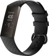 KELERINO. Siliconen bandje voor Fitbit Charge 3 / Charge 4 Zwart - Small