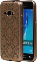 Samsung Galaxy J1 2016 Hoesje TPU Paleis 3D Backcover Goud