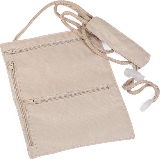 Multifunctioneel Nektasje - Nektas Inzetbaar als Reistas / Reisportemonnee / Paspoorthouder / Paspoort Etui / Creme (beige)