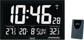 LCD zendergestuurde wandklok Zwart
