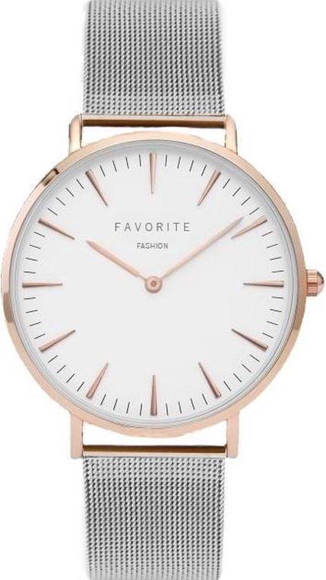 Navarra Silver/Rosé Mesh Horloge | Zilver- & Rosekleurig | Mesh band | Luxe Giftset/Cadeauset