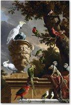 De Menagerie - d' Hondecoeter - Vogels - Schilderij op Canvas - Blauw Tint