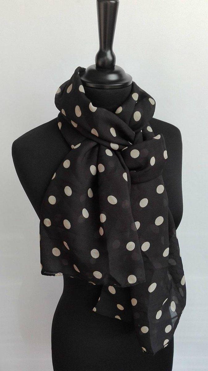 Dames sjaal - chiffon - stippen - zwart - 45 x 165 cm - Merkloos