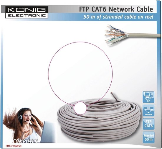 König - Internetkabel op Rol FTP CAT6 - grijs - 50 meter