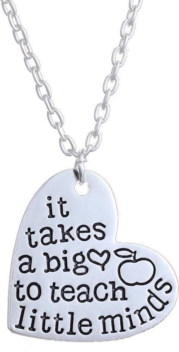 Ketting hart met tekst   It takes a big heart to teach little minds   ketting voor juf - Merkloos