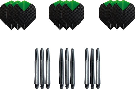 Dragon darts - Dartset - 3 sets darts flights en 3 sets nylon darts shafts - 18 pcs - groen