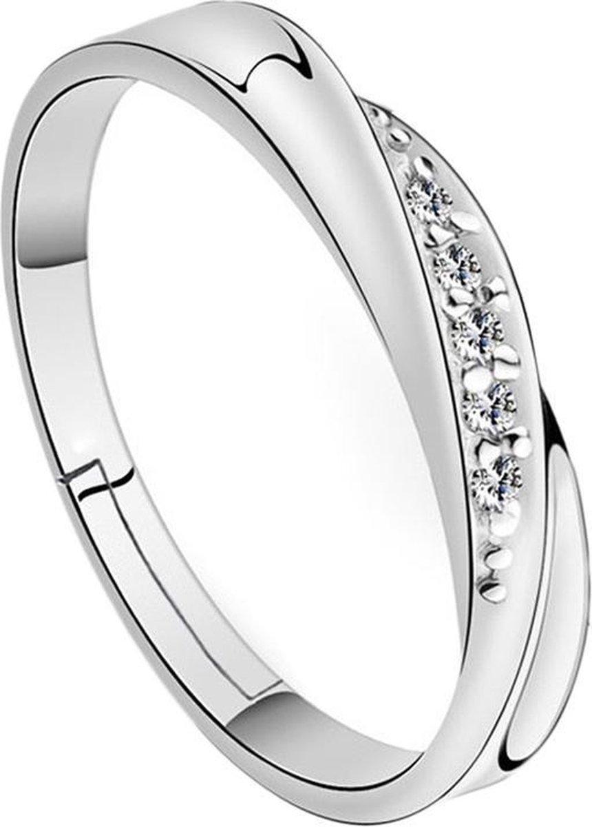 Verzilverde verstelbare S925 Ring met Zirkoon steen - Dlara