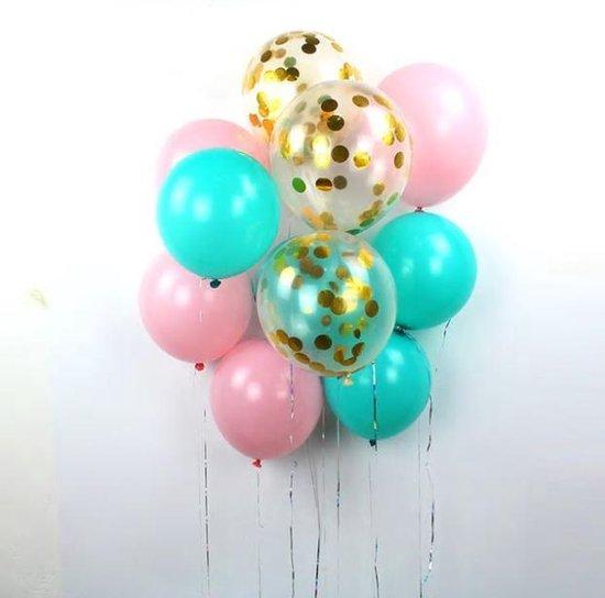 15 Confetti Ballonnen Tiffany Blauw | Ideaal voor baby shower of verjaardag
