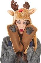 Rendier kerstmuts en sjaal voor volwassenen - Verkleedhoofddeksel