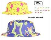 12x Bolhoed color plastic assortie - bol feest party clown hoedje carnaval circus festival