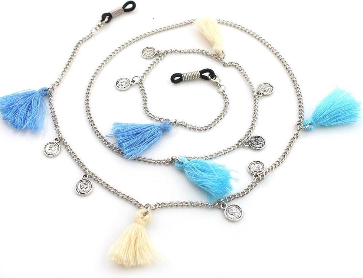 Brillenkoord - Kettinkje voor Zonnebril - Bedels en Kwastjes - 78cm - Zilverkleurig en Blauw - Dielay - Dielay