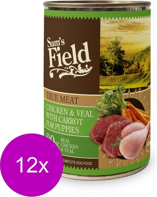 Sam's Field Blik True Meat Puppy - Kip Kalf Wortel - Hondenvoer - 12 x 400 g