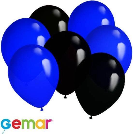 30x Ballonnen Blauw en Zwart (Ook geschikt voor Helium)